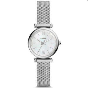 Fossil Mini Carlie Watch (Silver Mesh, ES4432)